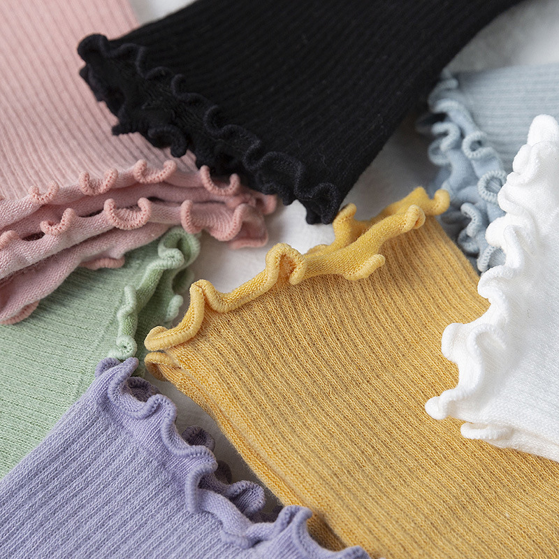 Fashion Lace Ruffles Soft Cotton Women Socks Top Quality Solid Japanese JK Cute Socks Princess Girl Cozy Lovely Frilled Socks