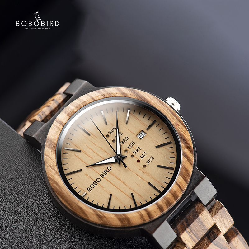 Men Watch Timepiece Wooden Customize-Logo Business Auto-Date Bobo Bird Display Relogio title=