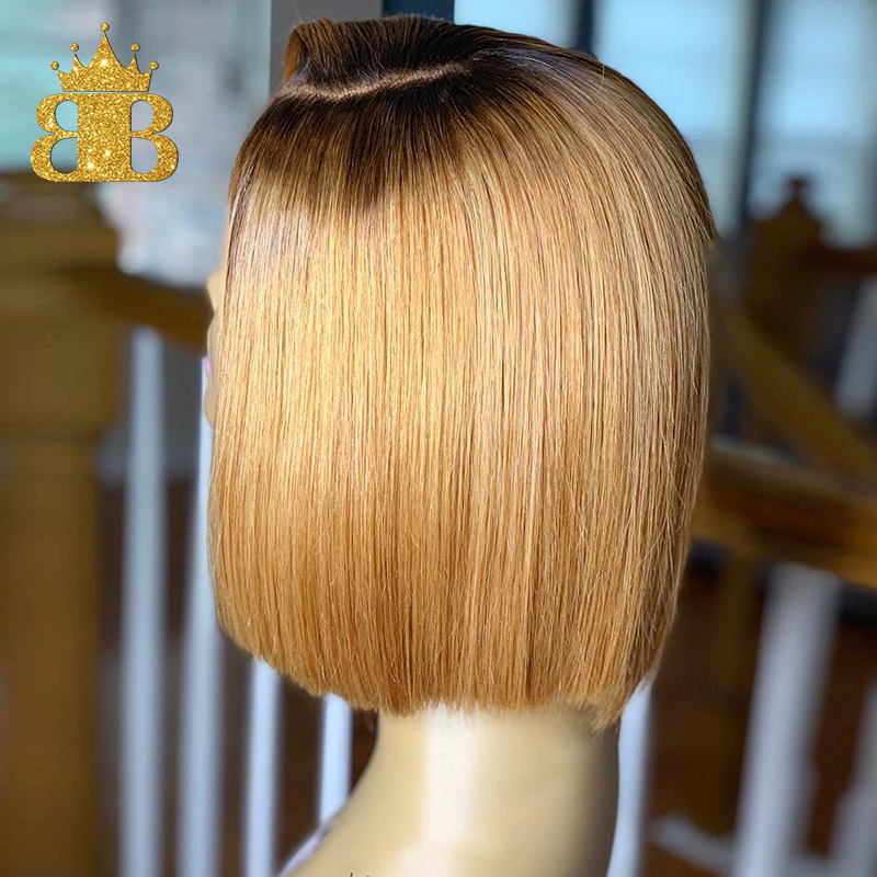 13X4 Honey Blonde Lace Front Human Hair Wigs T1B/27 Brazilian 130 Remy Hair Short Bob Wig Black Root Bleached Knots Medium Ratio