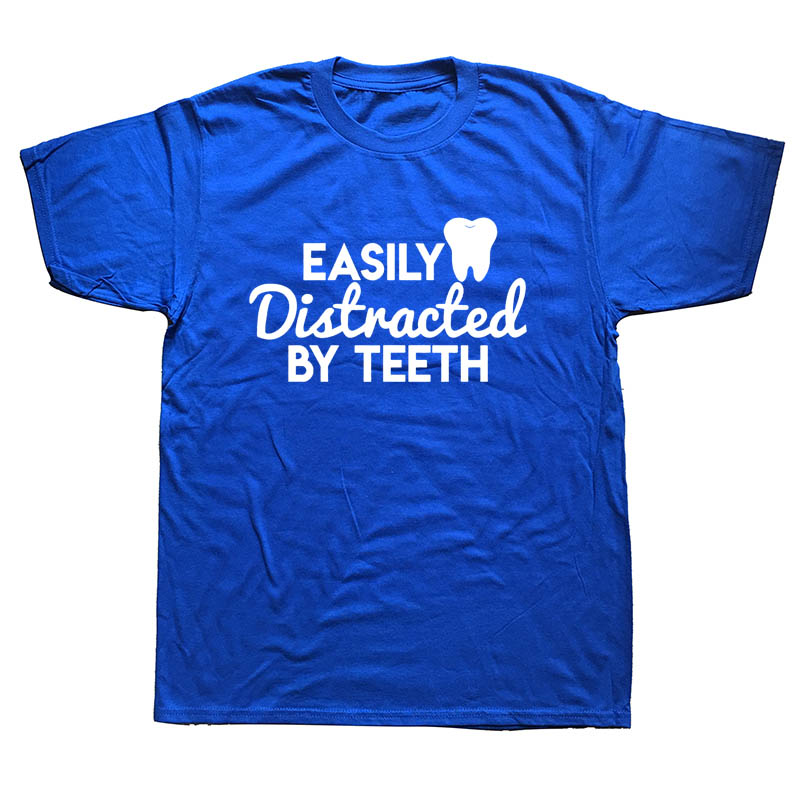 Love Dentist Dental Students Funny Christmas Mens T Shirt Men Cotton Short Sleeve Easily Distracted By Teeth T-shirt Top