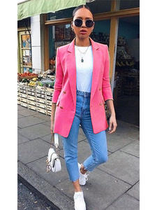 Chic Blazer Tops Outerwear Suit Coat Buttons-Design Long-Sleeve Autumn Office Lady Solid-Color
