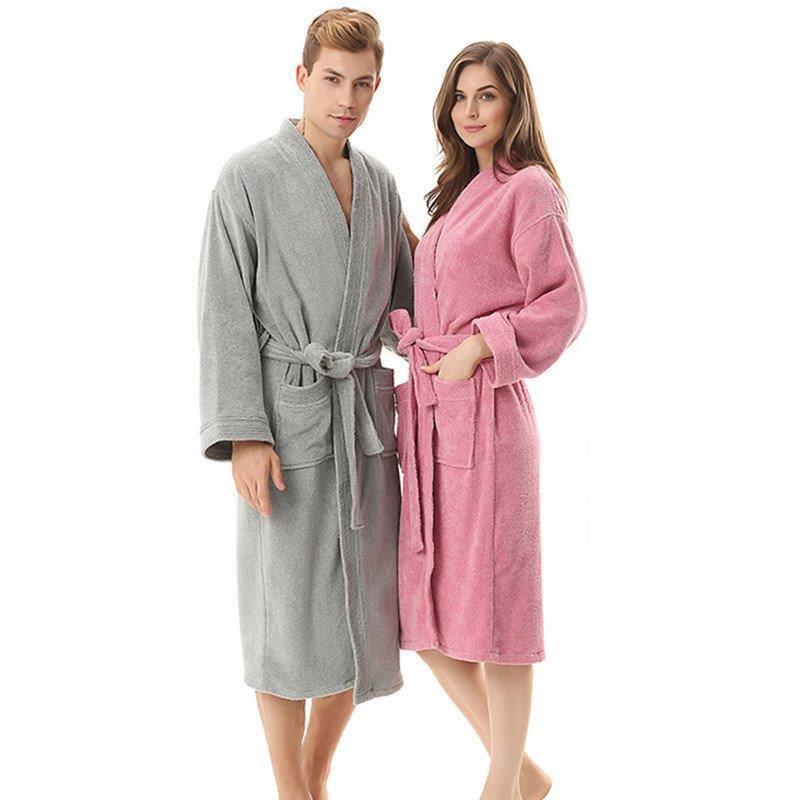 Toweling Robe100% Cotton Unisex Robe Bath Robe Men And Women Sleeprobe Double faced Terry Sleeprobe Females Casual Homewear