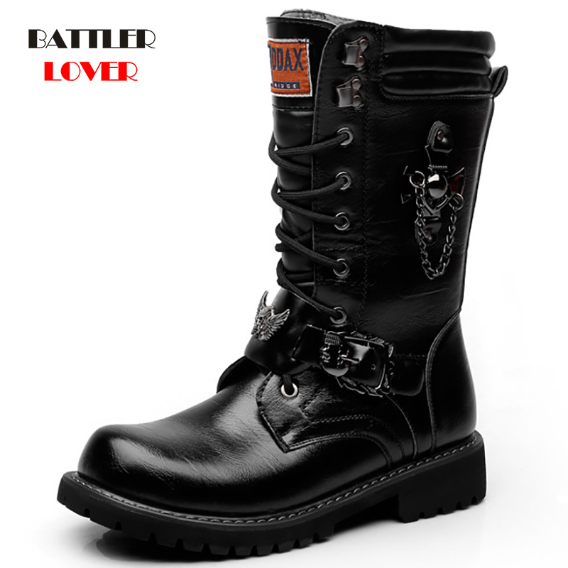 Army Boots Mens Military Combat Metal 2019 Fashion New Motorcycle Punk High Leather Men