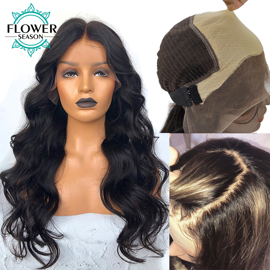Fake Scalp 13x6 Lace Front Wigs Human Hair Preplucked Frontal Brazilian Remy Hair Wavy Wig Bleached Knots For Women FlowerSeason title=
