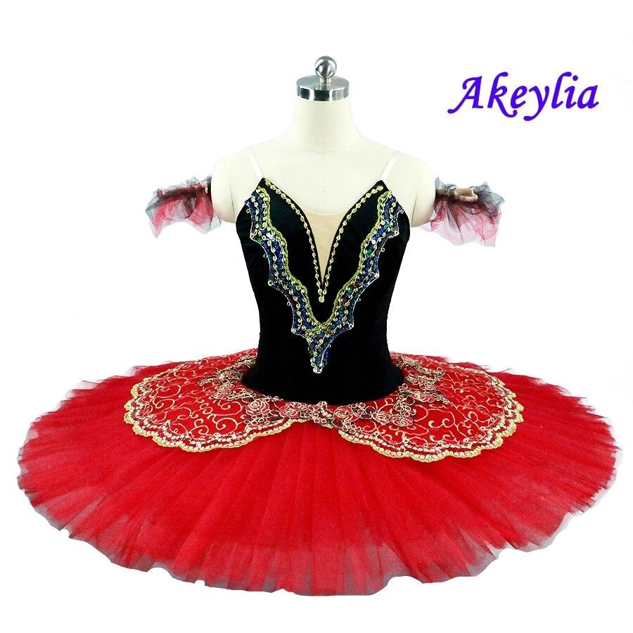 Girls Pro Ballet Tutu Dance wear Skirt RED white Dance Dress Platter Costume