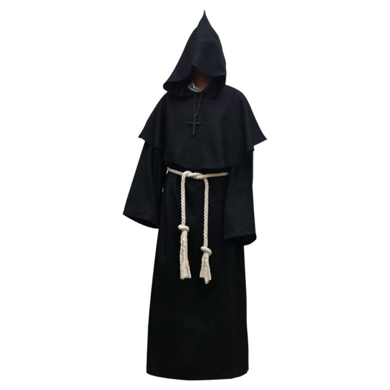 Unisex Halloween Robe Hooded Cloak Costume Cosplay Monk Suit