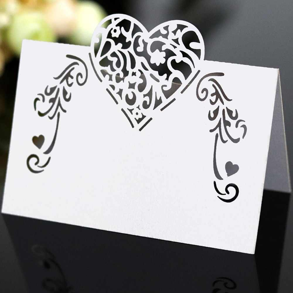 50pcs Laser Cut Heart Shape Place Cards Wedding Name Cards For Wedding Party Table Decoration Wedding Decor