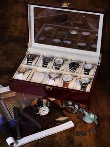 Часы-коробка ювелирных изделий организатор деревянные 12-сетки роскошь для мужчин стеклянный топ новый d40 3-5
