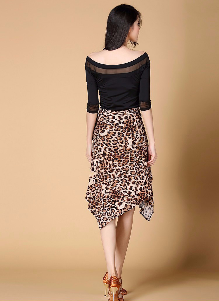 Competition Latin Dance Skirts for Woman Sexy Leopard Skirt Ladies Ballroom Dancing Clothes Woman Practice Salsa Samba Rumba