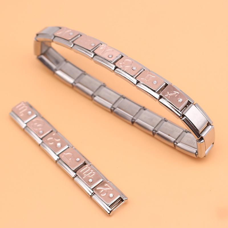 9mm Italian Bracelet Rose Gold Gemini With CZ Zodiac Charm DJ129