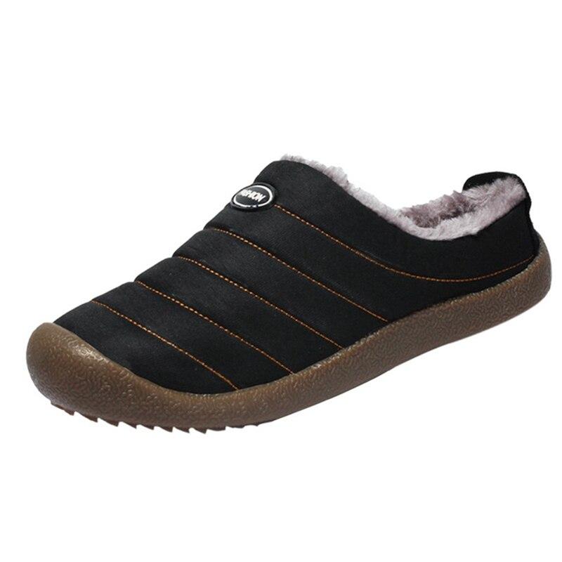 Winter Men Shoes Plush Men Slipper Fleece Warm Fur Thicken Cotton-Padded Home Slipper Indoor Flat Shoe Big Size Footwear