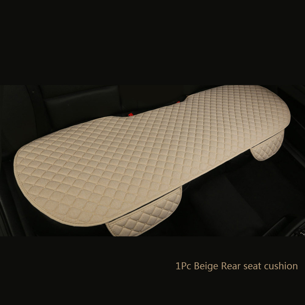 Seat Cushion Car-Seat-Protector Fabric Universal Auto Rear 1pc Flax Linen title=