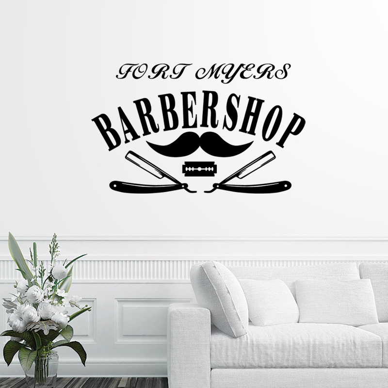Barber Shop Sticker Chop Bread Decal Haircut Shavers Posters Vinyl Wall Art Decals Decor Windows Decoration Mural Ml001