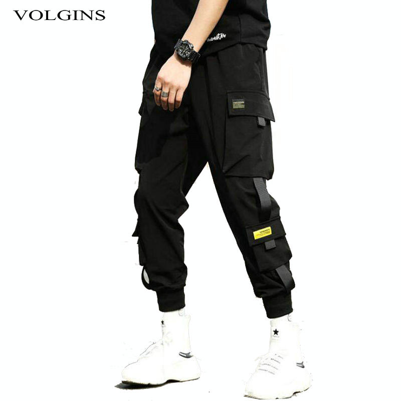 Harem-Pants Trousers Ribbons Elastic-Waist Streetwear Hip-Hop Black Men Casual with Slim title=