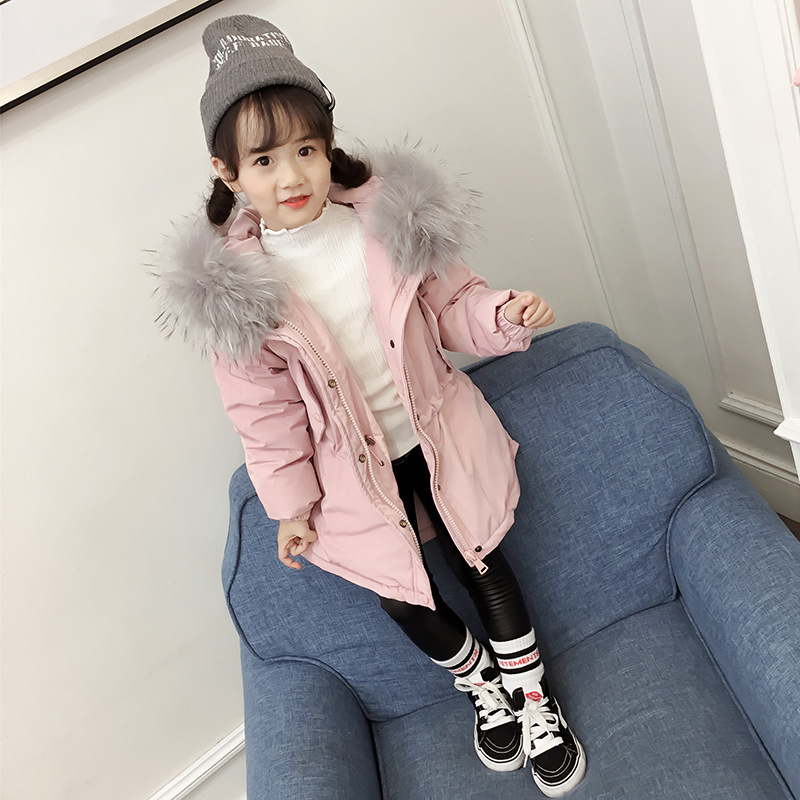 OCHENTA Gilrs Warm Hooded Parka Jacket Faux Fur Quilted Down Cotton Coat Padded