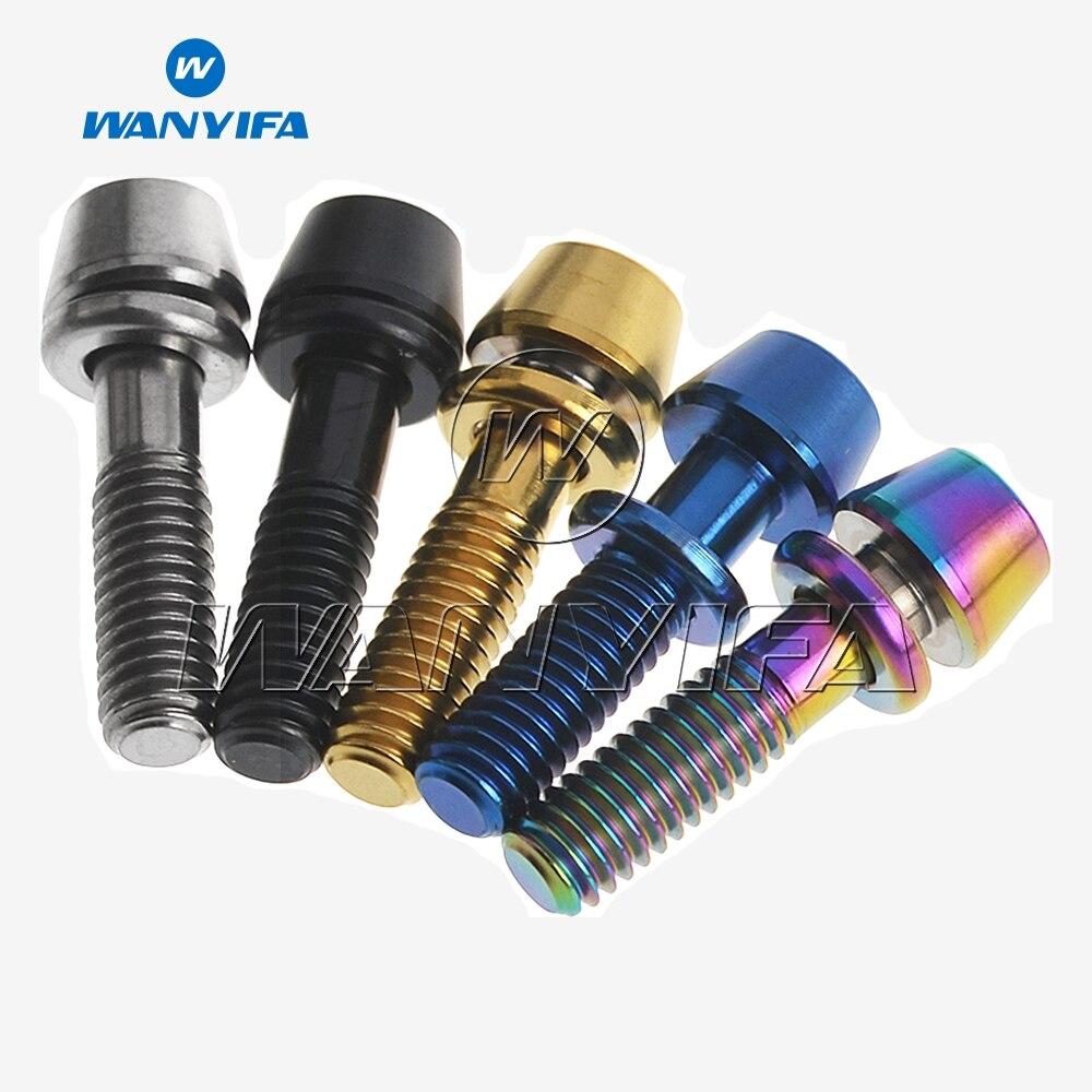 M6x16//18//20//25mm Titanium Ti M6 Bolts MTB Stem Taper Cone Hex Head with Washer