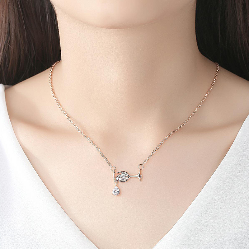 Fashion Women Crystal Water Drop Wine Glass Pendant Necklace Charms Jewelry Gift