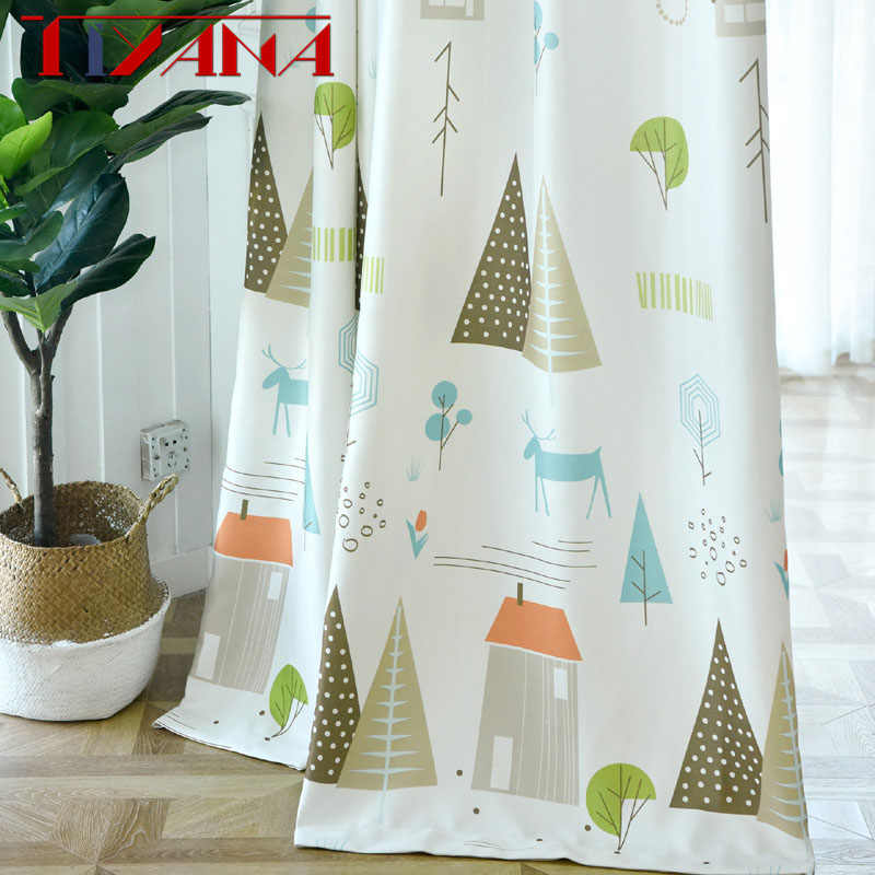 Nordic Blackout Curtains For Living Room Bedroom Children's Room Boy Curtain Ready Made Curtain Custom Shading Rate 70-75%p143#3