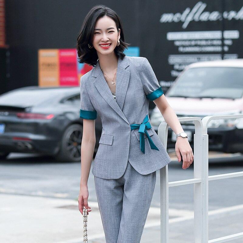 2020 Summer Short-sleeved Small Suit Suit Pants Female Temperament Suit Thin Coat Jacket Fashion British Style Two-piece Suit