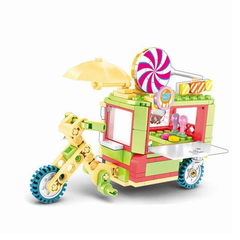 140pcs Legoing City car Lollipop dining car Street Vendors Three Wheeled motorcycle Kids Toys Blocks Christmas Gift Technic Kits
