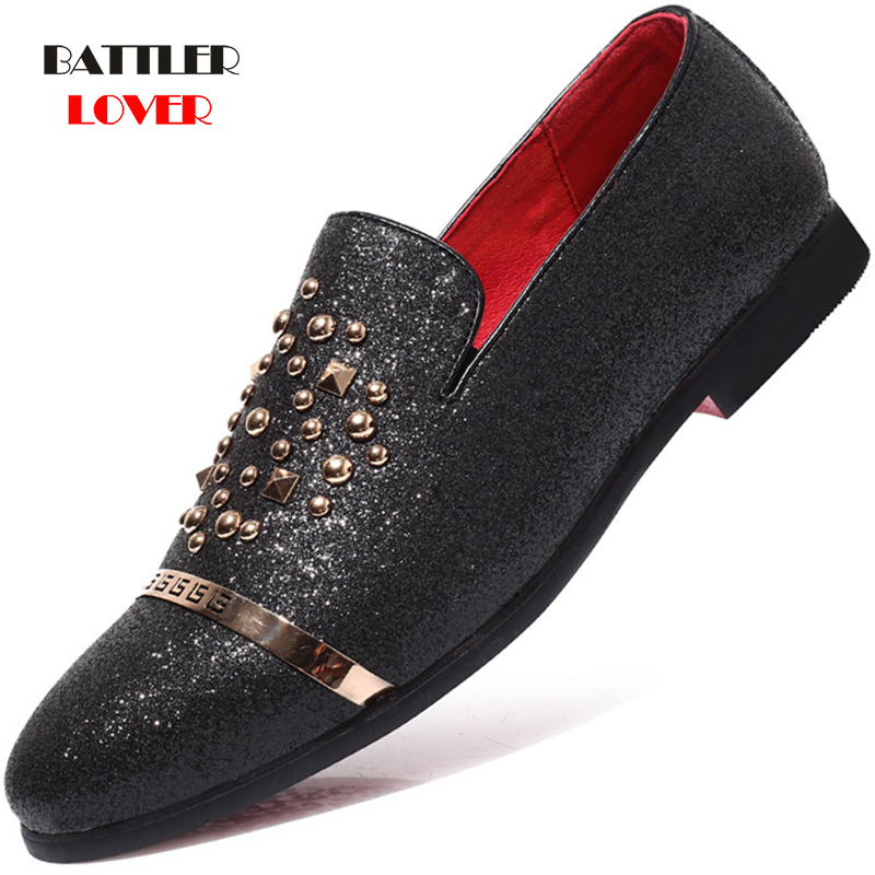 italian fashion glitter loafers men new arrival 2019 coiffeur wedding dress formal shoes men