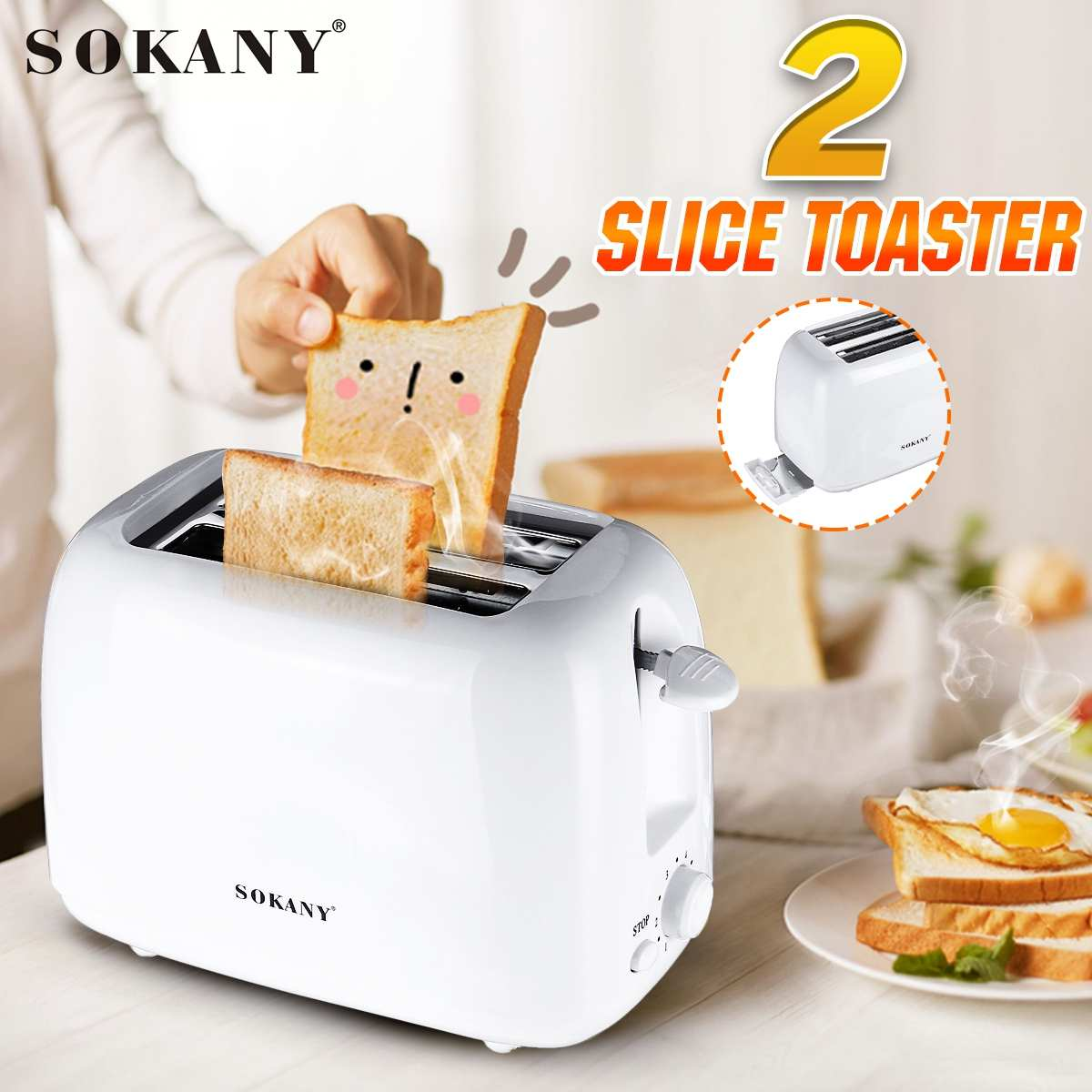 SOKANY Toaster Machine 2 Slices Bread Oven Sandwich 700W Toaster 6 gear Baking Breakfast Sandwich fast Heating safety maker