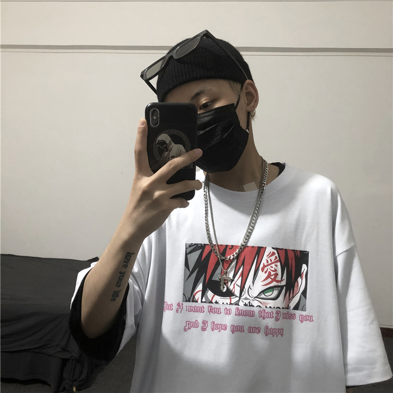 Men Women Anime Naruto Gaara Print T Shirt Harajuku Tshirt Ulzzang Korean Style Tee Top Clothes Cotton T-shirt Streetwear White
