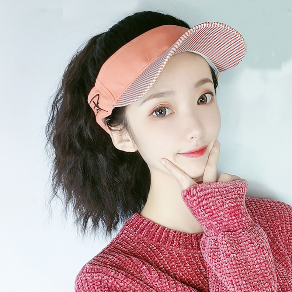 Short Curly Ponytail Synthetic Wig With Hat Summer Sun Visor Cap Sports Beach Golf Outdoor Running Empty Top Hat For Women