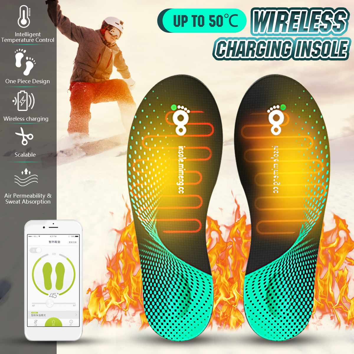 Heating Insole Charging Heated Insole Foot Feet Warmer Electric Shoes Winter Pad