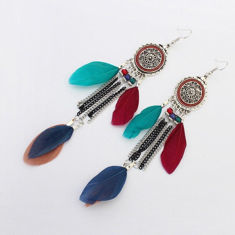 Boucles d'Oreilles Attrape Rêves en Argent Multicolore bijoux femme tenue unique style chic et bohème turquoise belle or massif style indien amérindienne capteurs de rêves