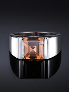Quartz-Ring Wedding-Rings 925-Gemstones jewelry Smoky Silver Genuine Jewpalace Men