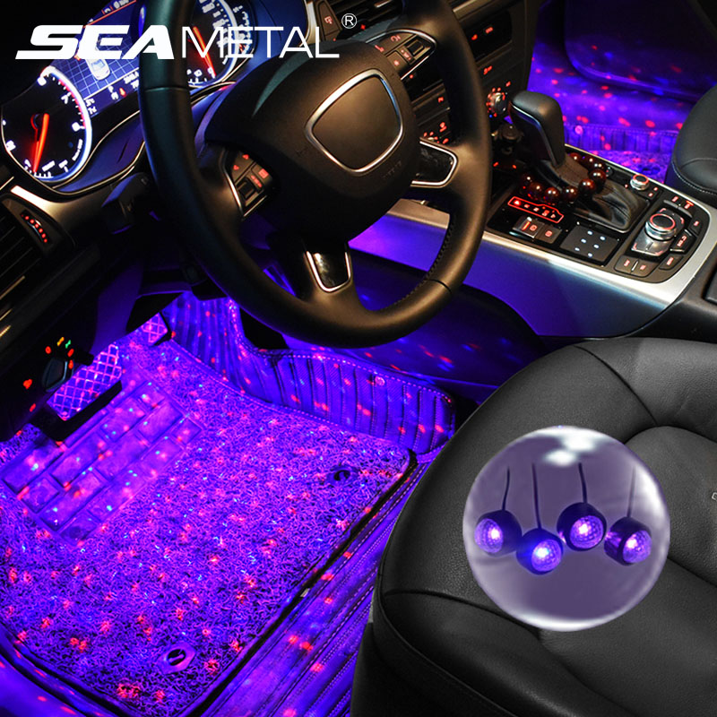 4 In 1 Car LED Atmosphere Lights Colorful RGB Interior Floor Foot Lights Universal Auto USB Decorative Ambient Lamp Car Styling title=