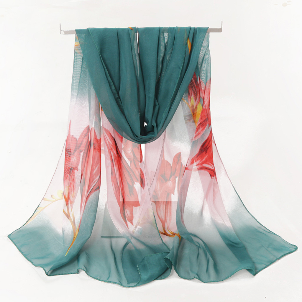 Fashion Silk Chiffon Scarves Women Wrap Sunscreen Beach Cover Up Long Hijab Print Flowers Shawl Summer Polyester Cape Femal 919