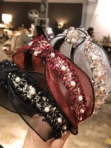 AWAYTR Lace-Headband Headdress Hair-Accessories Pearl Female Adult Korean Women Simple