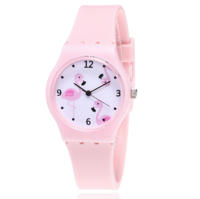 Girls Clock Watches Flamingo Candy-Color Silicone Kids Cartoon Fashion New Quartz title=