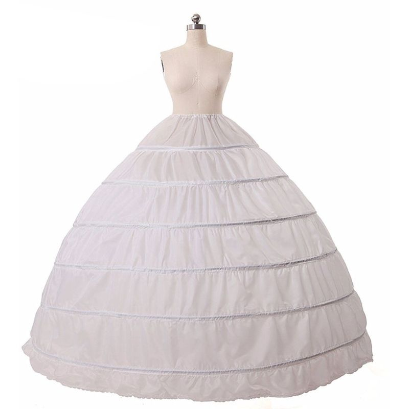 6 Hoops no Yarn Large Skirt Bride Bridal Wedding Dress Support Petticoat Women Costume Skirts Lining