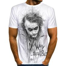 Male Tshirt Short-Sleeve Joker Face 3d-Printed White Casual Summer Topsxxs-6xl Clown