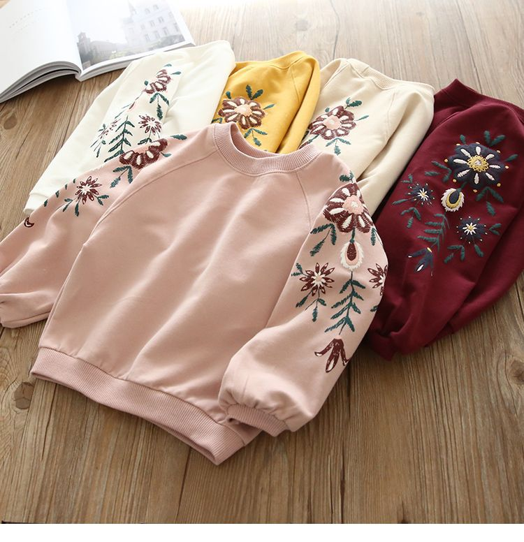 2019 Autumn New Baby Girls Floral Hoodies Long Sleeves Children Baby Pullover Shirt Sweater For Kids T-shirt Clothes Hoody
