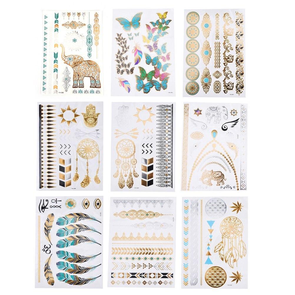 1PCS Flower Taty Design Tattoo Sticker Flash Metallic Waterproof Temporary Tattoo Gold Silver Tatoo