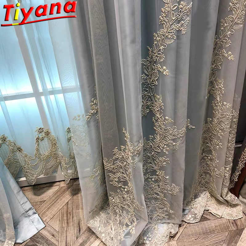 Luxury Embroidered Tulle Curtains for Living Room Pricess Wedding Tulle Gold Thread Embroider White Voile Sheer Tulle WH052#40