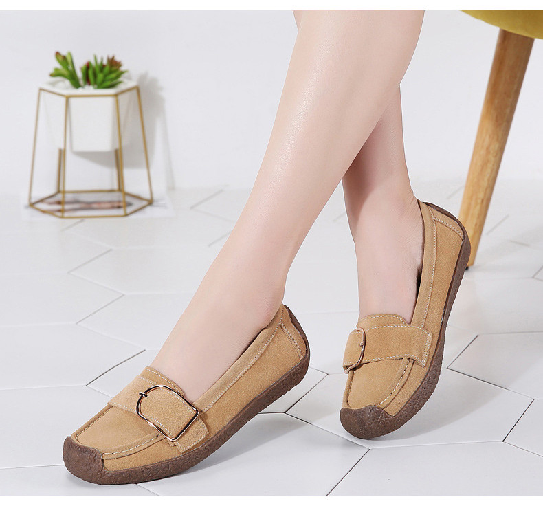 HX 7038-Spring Autumn Cow Suede Leather Women Flats-5