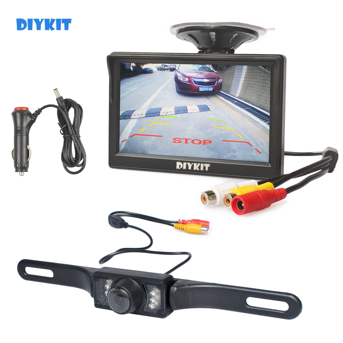 Dual Wide Angle Universal Backup Camera with Back-Up Parking Lines