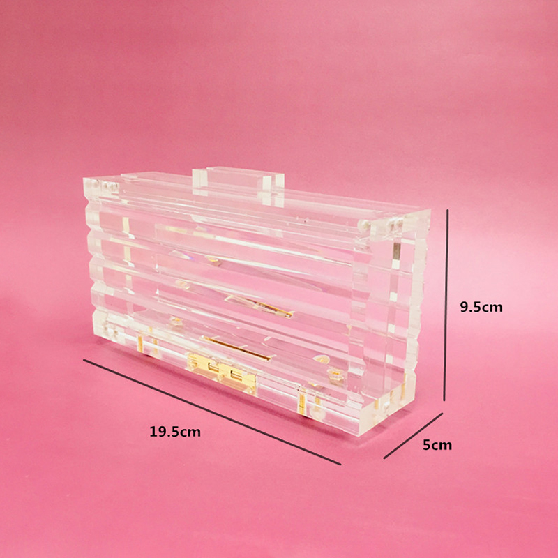 Transparent Acrylic Box Evening Bags Women Luxury Vintage Clear Clutch Purses Ladies Bridal Small Flap Wedding Dinner Party