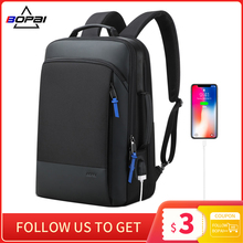 Men Backpack Laptop Expandable Travel Anti-Theft BOPAI Waterproof Weekend-Work Male