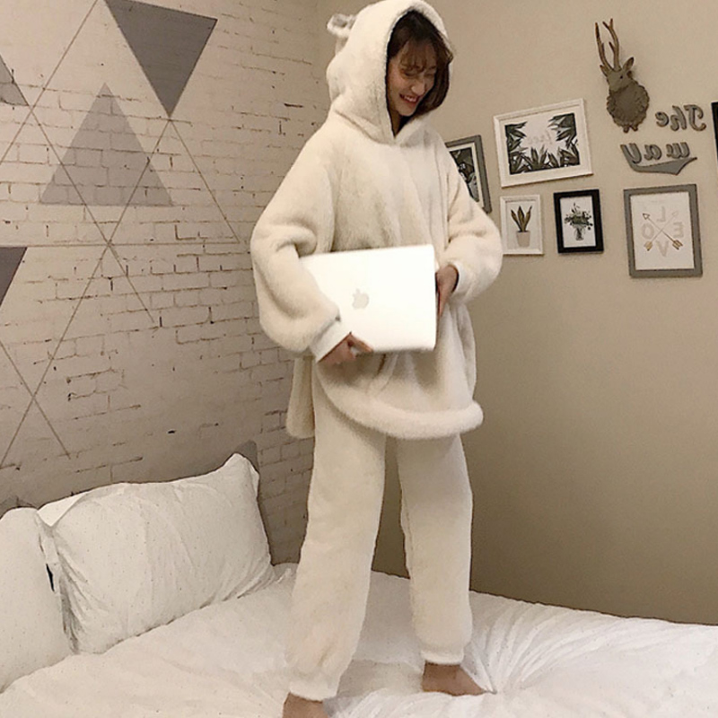 2020 autumn winter new women's Korean version of the wild loose plush rabbit ears home set 2pcs pajamas set pijamas PJS