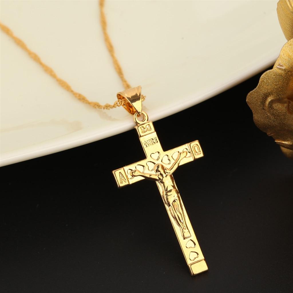 Мужской кулон в форме сердца инри золотой крест с изображением Иисуса Христа