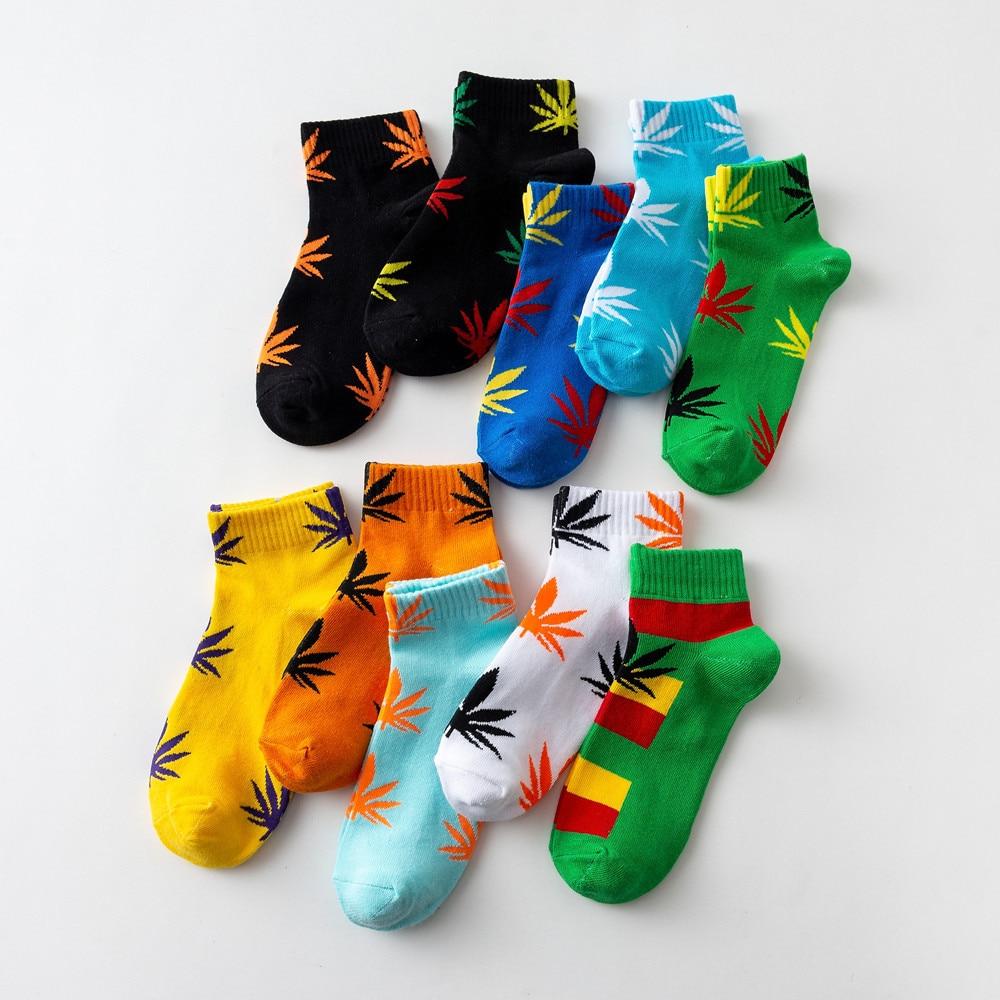 1 Pair Men Socks Cotton Short Soft Breathable Socks Maple Leaf Low-top Socks