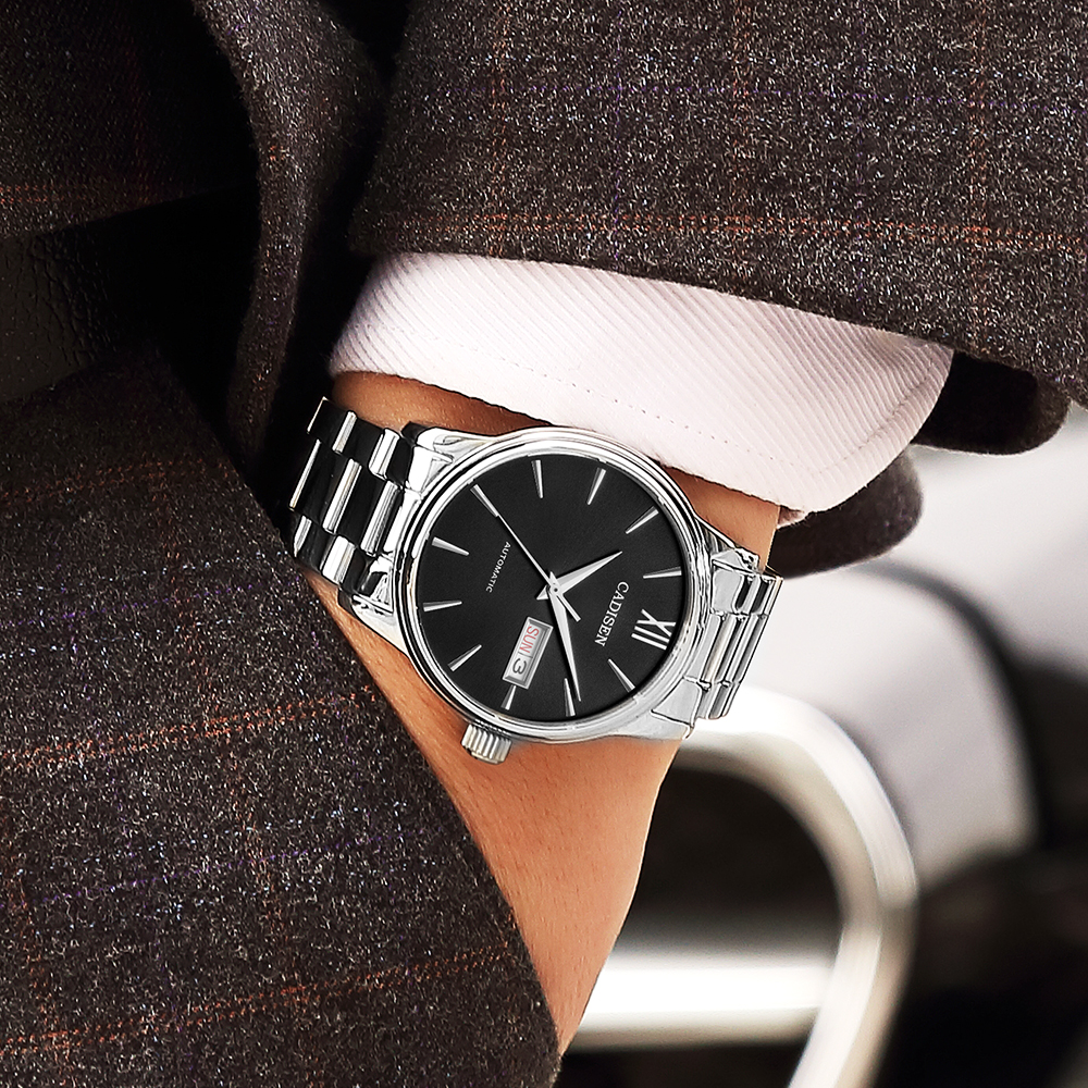 CADISEN Men Automatic Machinery Watches Luxury Fashion Full-Steel Japan NH36 Movement 50M Waterproof Business Watch Montre Homme
