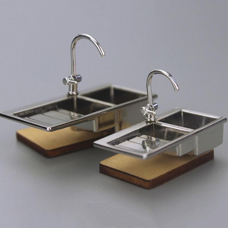 1//12 Móveis Miniatura Da Casa De Boneca Mão Lavatório Banheiro Acessórios Para Cozinha