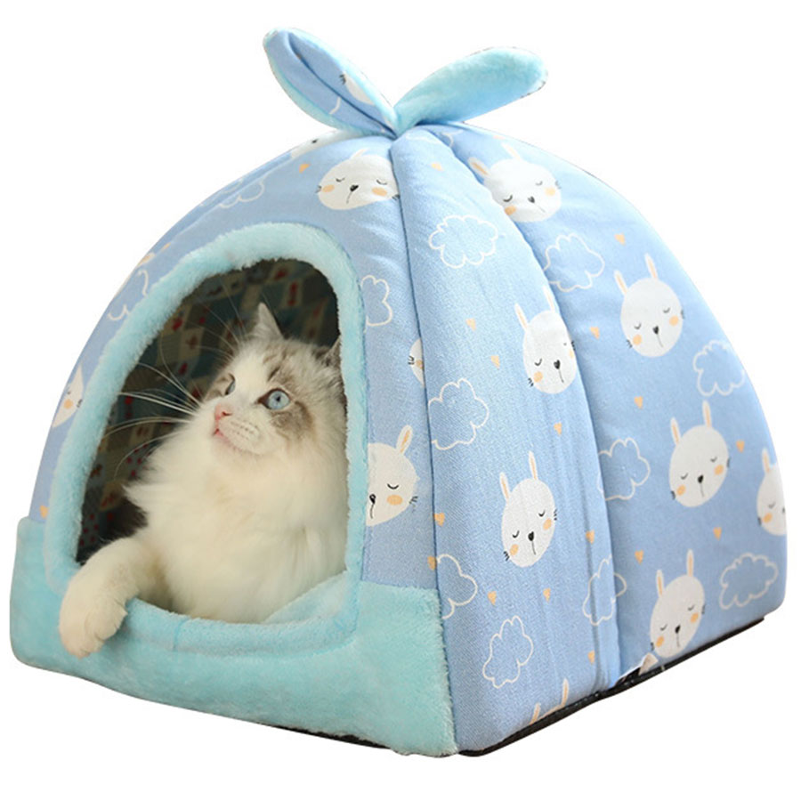 Mammal - Cat House Foldable Lovely Printing Warm Cozy for Cats Dogs Nest Collapsible Cat Cave Cute Sleeping Mats Winter Pet Products
